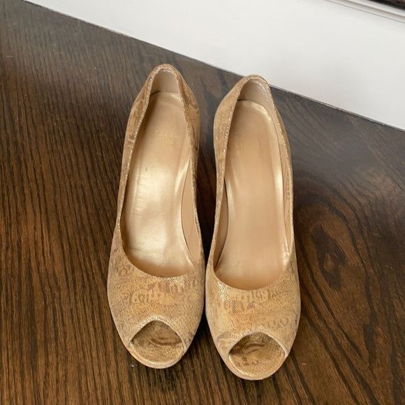 Stuart Weitzman Gold Cork Wedge Shoes